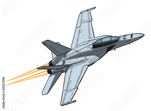 American jet fighter aircraft. Vector freehand draw Fototapeta
