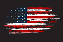 Grunge Flag Of The USA In With Grunge Texture.