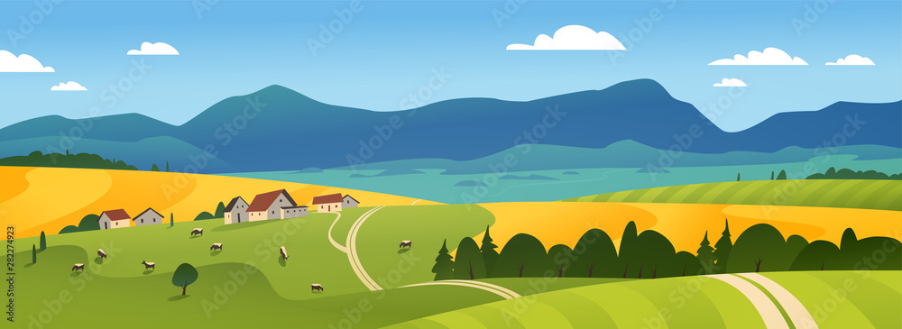 Fototapeta Vector flat landscape illustration of summer countryside nature view: sky, mountains, cozy village houses, cows, fields and meadows. For farm product packaging, sticker design, banner, flayer etc.