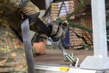German Army Soldier Lashed Cargo With Lashing Material