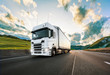 canvas print picture - Truck with container on road, cargo transportation concept.