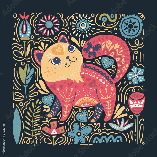 Платно Folk art vector animal illustration in scandinavian style
