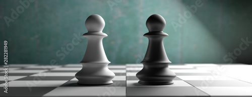 Fotografie, Obraz  Black and white chess pawns standing on a chessboard background, banner