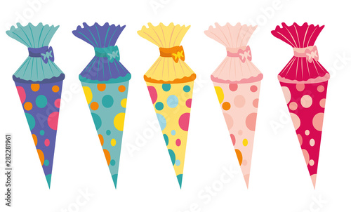 Cuadros en Lienzo School cone vector - colored on white, isolated background, decorated with dots