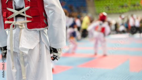 Moment of Taekwondo Kids in the stadiums Canvas Print
