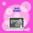 canvas print picture - Writing note showing Sales Strategy. Business concept for Plan for reaching and selling to your target market Marketing Laptop Switched On with Website Homepage Screen Web Search
