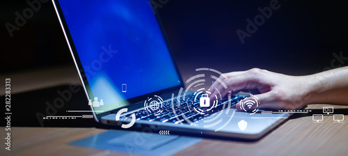 Photo Close up businessman hand typing or working on laptop for programming about cybe