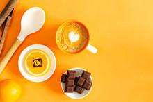Chocolate Pieces Over Orange S...