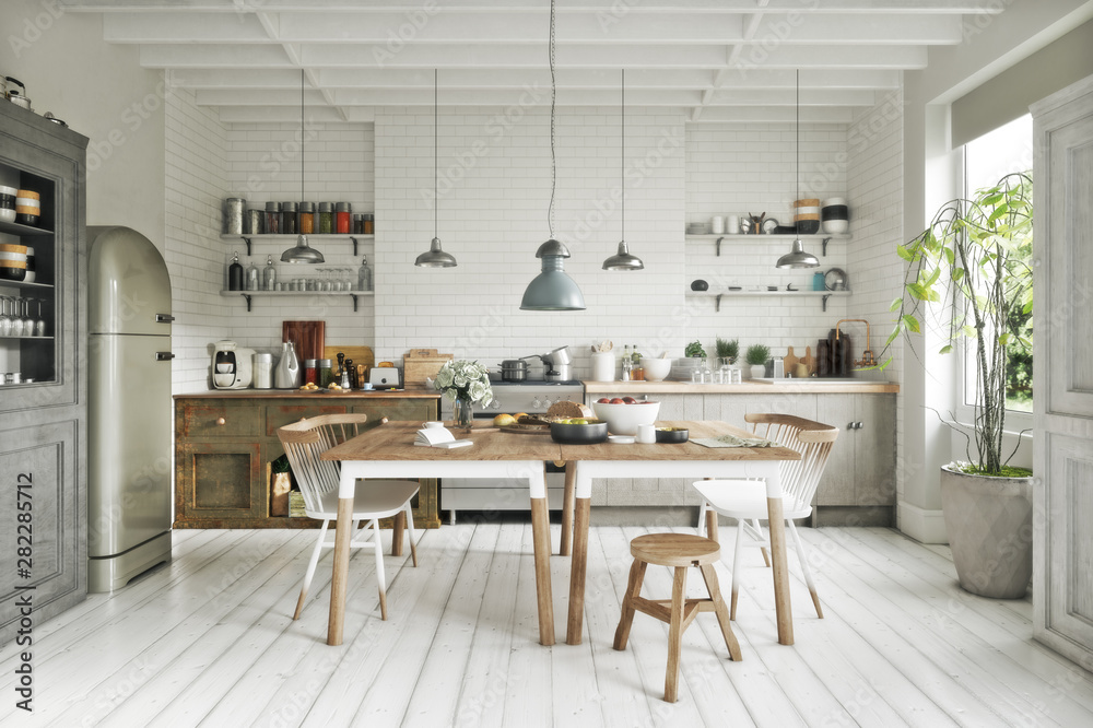 Fototapeta Scandinavian contemporary style kitchen with eating area and simplistic accents. 3d rendering
