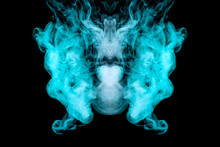 Horrific Abstract Monster, A Ghost Mystically Depicted From Green Smoke With Large Eyes, Mouth And Ears On A Black Background. Print For Clothes.
