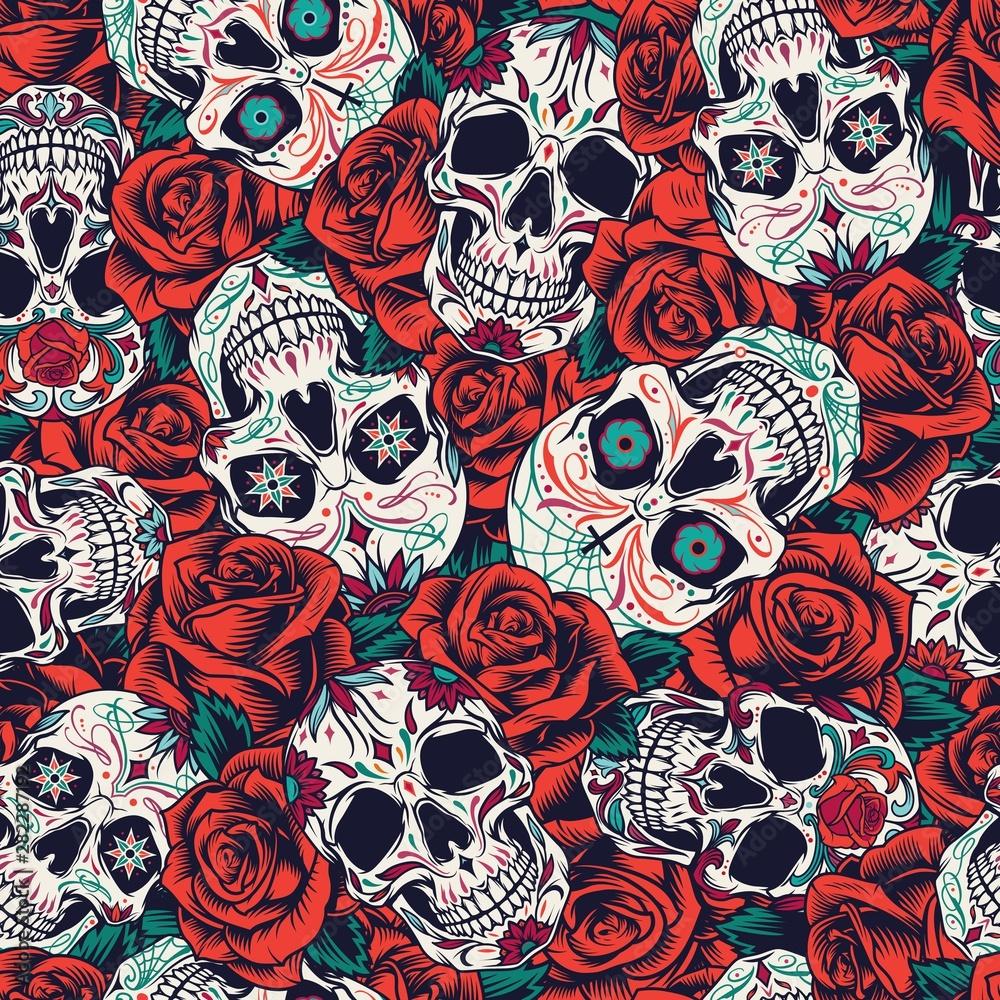 Fototapeta Vintage Day of Dead seamless pattern
