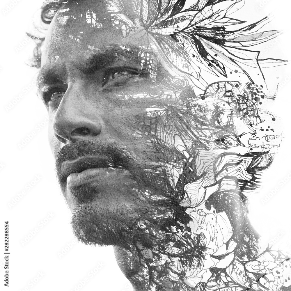 Fototapety, obrazy: Paintography. Double exposure. Close up portrait of man with strong features and light beard dissolving behind hand painted floral watercolor and ink painting, black and white