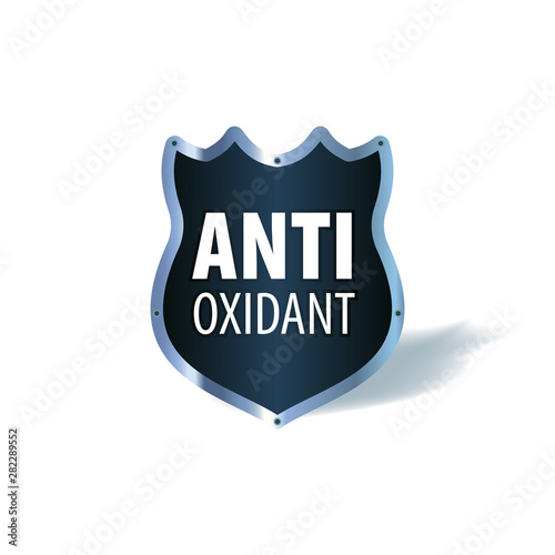 Shield symbol with the words Antioxidant, vector icon Wallpaper Mural