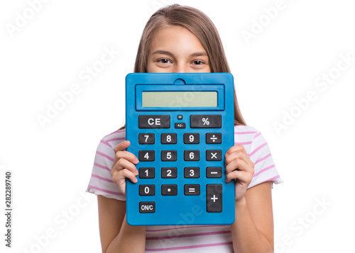 Smart student holding big calculator  Portrait of funny cute