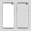 Set of two realistic modern smartphone on transparent background. Front view display. Mobile phone with white blank and transparent screen. Mock up template for your design.