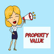 canvas print picture - Writing note showing Property Value. Business concept for Worth of a land Real estate appraisal Fair market price Young Woman Speaking in Blowhorn Colored Backgdrop Text Box