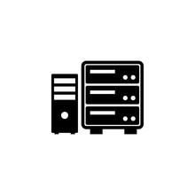 Datacenter, Computer Server Flat Vector Icon