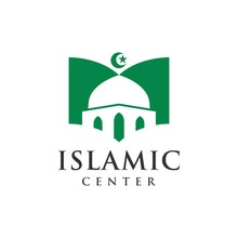 Mosque With Book Logo Vector For Muslim Learn, Muslim Book, Islamic Center