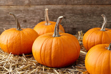 Orange Halloween Pumpkins On S...