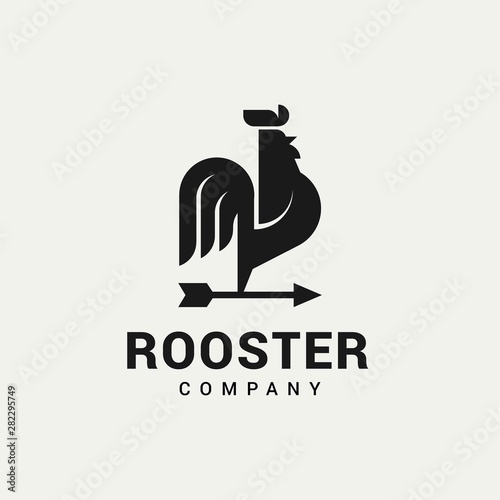 Photo Rooster with Arrows logo vector in isolated white background
