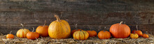 Various Pumpkins On Stack Of H...