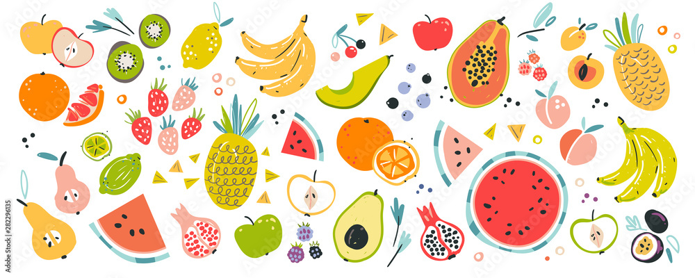 Fototapeta Fruit collection in flat hand drawn style, illustrations set. Tropical fruit and graphic design elements. Ingredients color cliparts. Sketch style smoothie or juice ingredients.