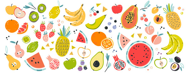 Fruit collection in flat hand drawn style, illustrations set. Tropical fruit ...