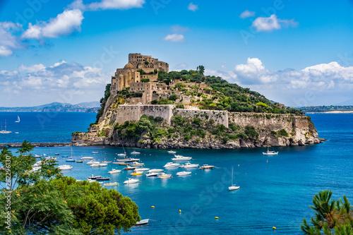 Fotomural Aragonese Castle - Castello Aragonese on a beautiful summer day, Ischia island,