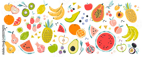 Fruit collection in flat hand drawn style, illustrations set. Tropical fruit and graphic design elements. Ingredients color cliparts. Sketch style smoothie or juice ingredients.