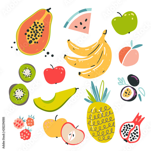 Fruit collection in flat hand drawn style, illustrations set. Tropical fruit and graphic design elements. Ingredients color cliparts. Sketch style smoothie or juice ingredients. Wall mural