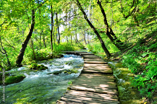 Fotomural Wooden boardwalk through the water filled landscape of Plitvice Lakes National P