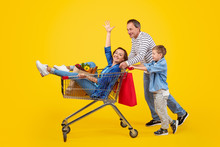 Happy Family With Trolley Shop...