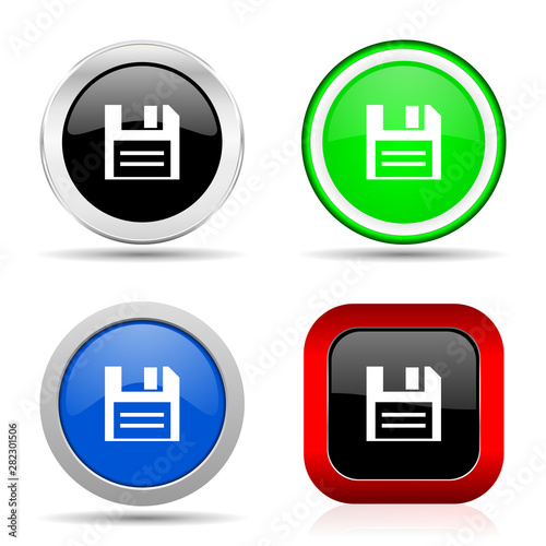 Disk red, blue, green and black web glossy icon set in 4