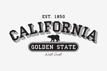 California Modern Typography For T-shirt. California College Tee Shirt With Grizzly Bear. Golden State Slogan. Vector Illustration.