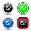 Leinwandbild Motiv Folder red, blue, green and black web glossy icon set in 4 options