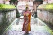 Leinwanddruck Bild - Thailand traditional or cultural dance. Thai beautiful girl is dancing called Ram, it is noble Thai art of elegance.