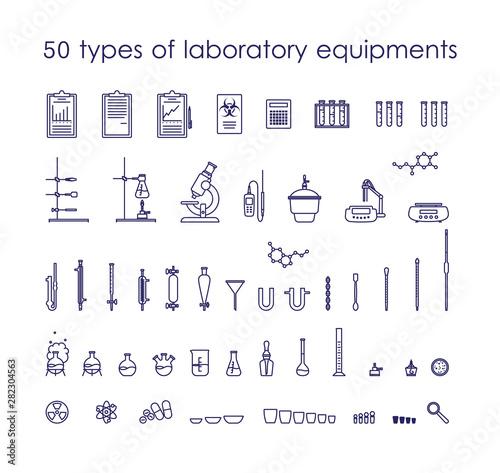 Line icons with 50 types of laboratory equipments and instruments Fototapet