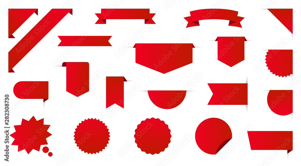Fototapeta Label collection set. Sale tags. Discount red ribbons, banners and icons. Shopping Tags. Sale icons. Red isolated on white background, vector illustration.