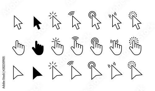 Valokuva  Computer mouse click cursor gray arrow icons set and loading icons