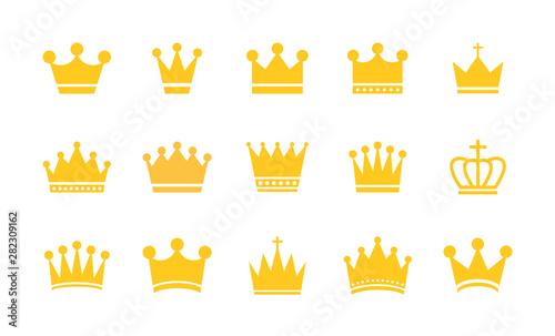 Duża kolekcja koron korony. Złota korona. Zestaw kolekcja ikon Royal Crown. Vintage korona. Ilustracji wektorowych.