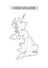Polygonal Abstract Map Of United Kingdom With Connected Triangular Shapes Formed From Lines. Location Point Of London. Good Poster For Wall In Your Home. Decoration For Room Walls.