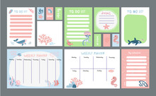 Big Set Of Pastel Planner With Marine Life Cute Illustrations. Timetables And To Do Lists With Simple Scandinavian Whale And Fish Characters And Trendy Lettering. Vector Template For Agenda, Planners
