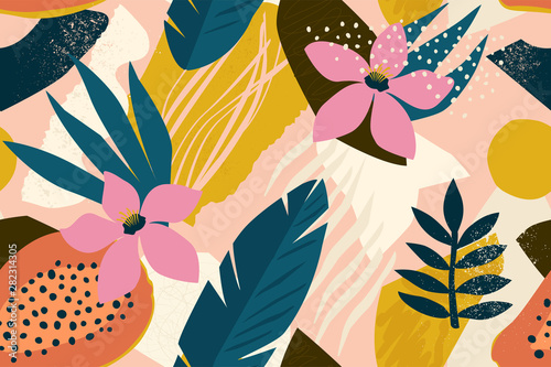 Fototapeta Collage contemporary floral seamless pattern. Modern exotic jungle fruits and plants illustration in vector. obraz