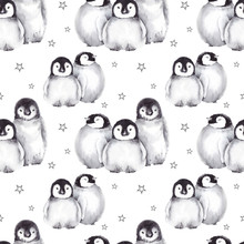 Seamless Pattern With Cute Baby Penguins And Star Shapes. Watercolor Illustration Isolated On White Background.