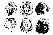 Lion Head Logo Vector Template...