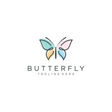 Butterfly Logo Vector Line Outline Monoline Icon Illustration