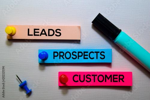 Fotografía Leads, Prospects, Customer text on sticky notes isolated on office desk
