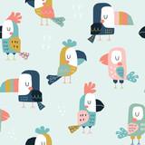 Dziecinny wzór z uroczymi papugami i tukanami. Tekstura dla dzieci w stylu skandynawskim do tkanin, opakowań, tekstyliów, tapet, odzieży. Płaskie śmieszne ilustracji wektorowych.