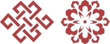 Ornamental Floral Red Stencil Art