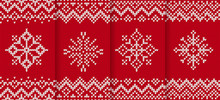 Knit Christmas Pattern. Red Seamless Background. Vector Illustration.